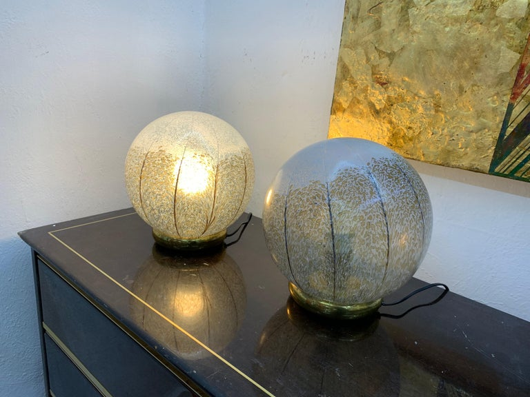 Pair of Mid-Century Modern Table Lamps by Mazzega in Murano Glass, circa 1970 For Sale 8