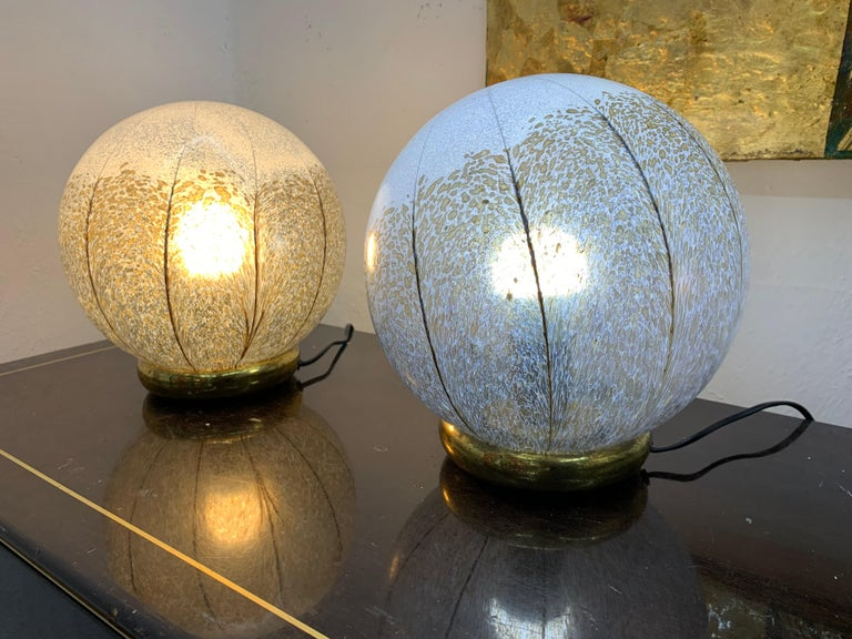 Pair of space age one-light table lamps attributed to Mazzega, circa 1970.