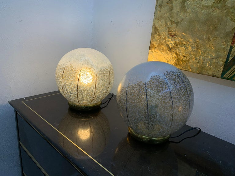 Italian Pair of Mid-Century Modern Table Lamps by Mazzega in Murano Glass, circa 1970 For Sale