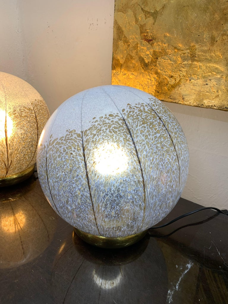 Blown Glass Pair of Mid-Century Modern Table Lamps by Mazzega in Murano Glass, circa 1970 For Sale