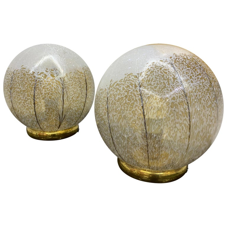 Pair of Mid-Century Modern Table Lamps by Mazzega in Murano Glass, circa 1970 For Sale