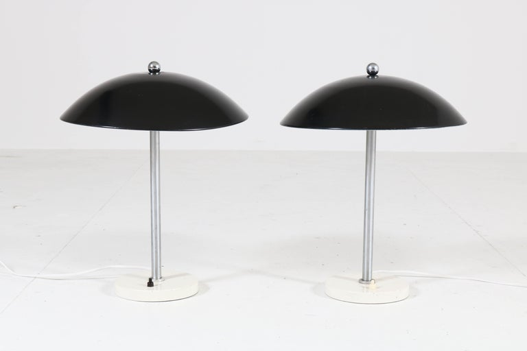 Dutch Pair of Mid-Century Modern Table Lamps by Wim Rietveld for Gispen, 1950s For Sale