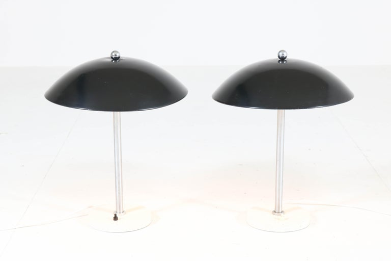 Mid-20th Century Pair of Mid-Century Modern Table Lamps by Wim Rietveld for Gispen, 1950s For Sale