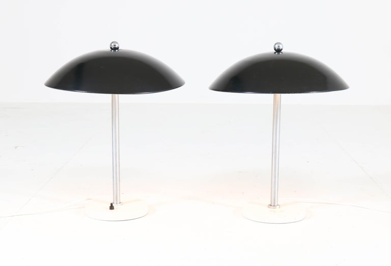 Metal Pair of Mid-Century Modern Table Lamps by Wim Rietveld for Gispen, 1950s For Sale