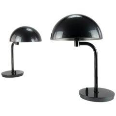 Pair of Mid-Century Modern Table Lamps in Dark Gray from Metalarte, Spain 1969