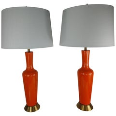Pair of Mid-Century Modern Table Lamps with Orange Crackle Glaze, C1958