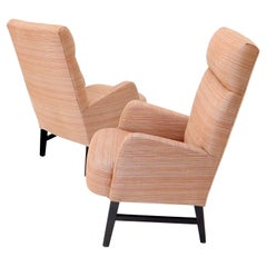 Pair of mid-century modern tall backs lounge chairs