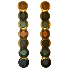 Pair of Mid-Century Modern Tall Brass Sconces with Multi-Color Round Glass Disks