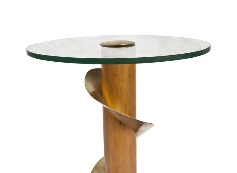 Pair of Mid-Century Modern Teak and Brass Side Tables For Sale 1