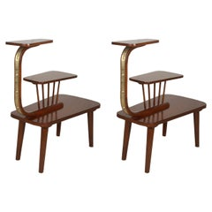 Pair of Mid-Century Modern Teak and Brass Tiered Side or End Tables