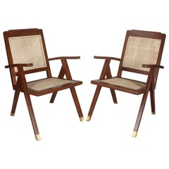 Pair of Mid-Century Modern Teak and Caned Side Armchairs