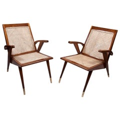 Pair of Mid-Century Modern Teak and Caned Side Chairs with Cushions
