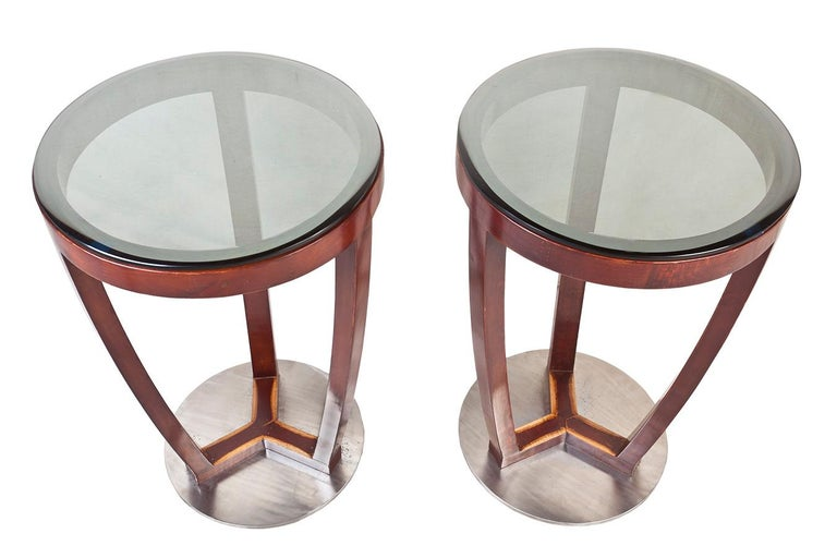 Pair of Mid-Century Modern teak side tables with chrome base and beveled, smoked glass tops not attached. Refinished.