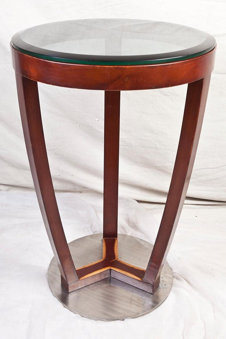 Pair of Mid-Century Modern Teak and Chrome Side Tables In Good Condition For Sale In Nantucket, MA