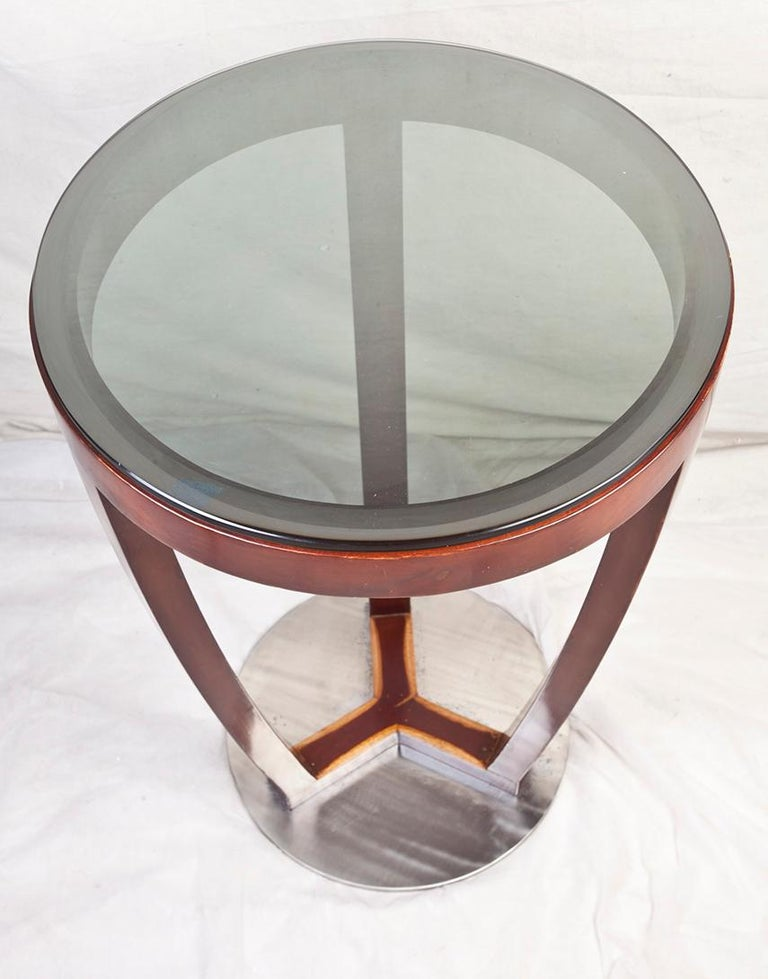 20th Century Pair of Mid-Century Modern Teak and Chrome Side Tables For Sale