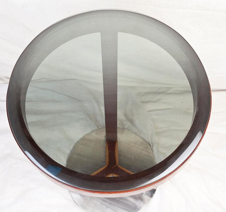 Smoked Glass Pair of Mid-Century Modern Teak and Chrome Side Tables For Sale