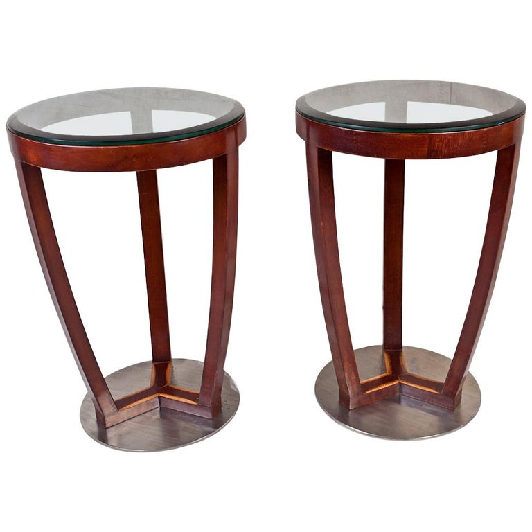Pair of Mid-Century Modern Teak and Chrome Side Tables For Sale