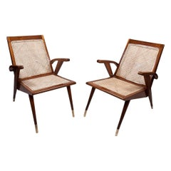 Pair of Mid-Century Modern Teak Caned Side or Lounge Chairs with White Cushions
