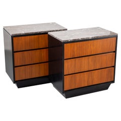 Pair of Mid-Century Modern Teak Chests with Marble Tops