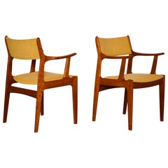 Pair of Mid-Century Modern Teak Wood Armchairs