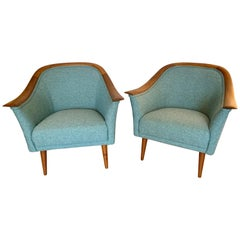 Pair of Mid-Century Modern Teal Seafoam Tweed Newly Upholstered Walnut Armchairs