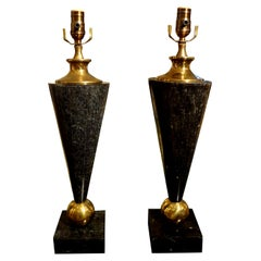 Pair of Mid-Century Modern Tessellated Stone and Brass Lamps