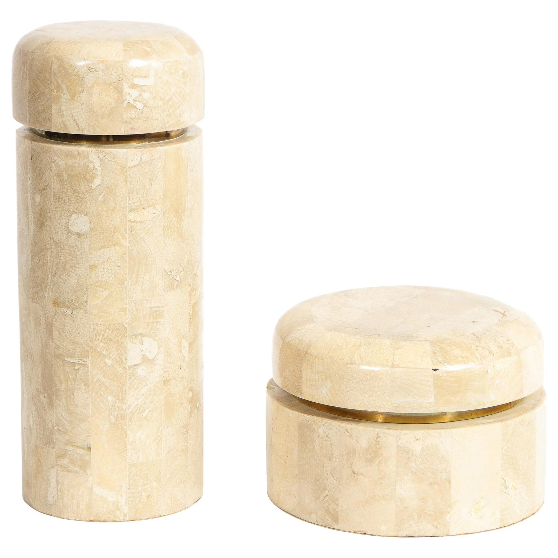 Pair of Mid-Century Modern Tessellated Stone Boxes by Maitland Smith