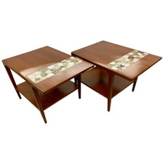 Pair of Mid-Century Modern Tile Top Walnut End Tables
