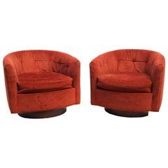 Pair of Mid-Century Modern Tilt & Swivel Lounge Chairs Manner of Milo Baughman