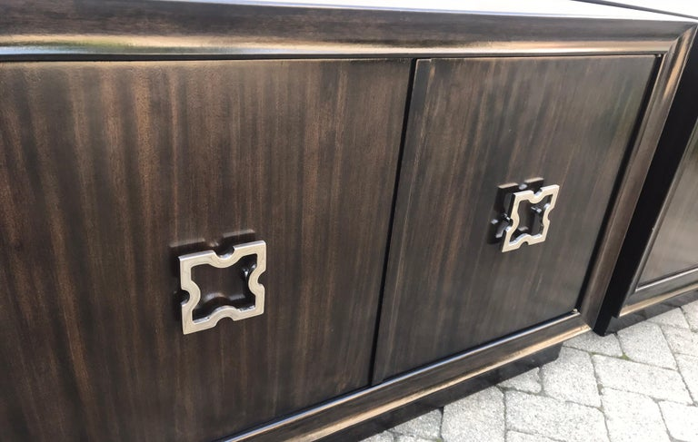 Stained Pair of Mid-Century Modern Tommi Parzinger Storage Cabinets or Small Credenzas For Sale