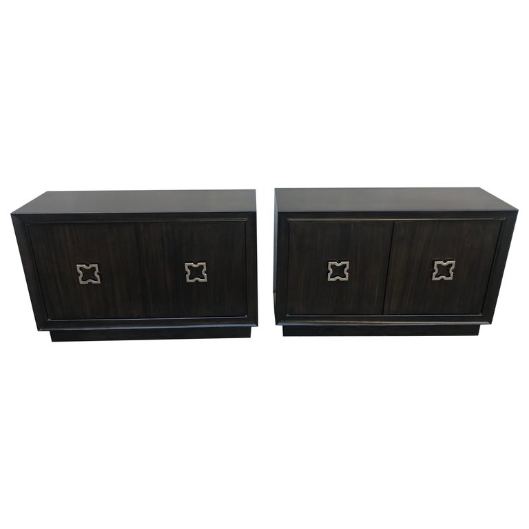Pair of Mid-Century Modern Tommi Parzinger Storage Cabinets or Small Credenzas For Sale