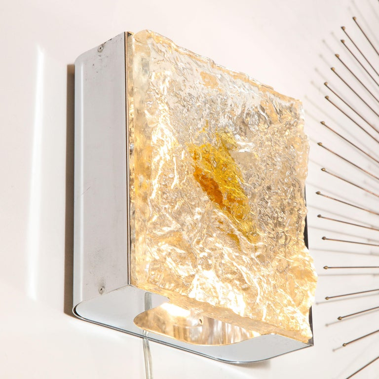 Pair of Mid-Century Modern Translucent and Amber Murano Glass Sconces by Mazzega For Sale 2