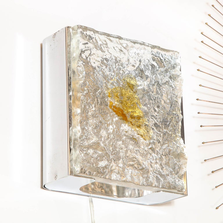 Pair of Mid-Century Modern Translucent and Amber Murano Glass Sconces by Mazzega For Sale 3