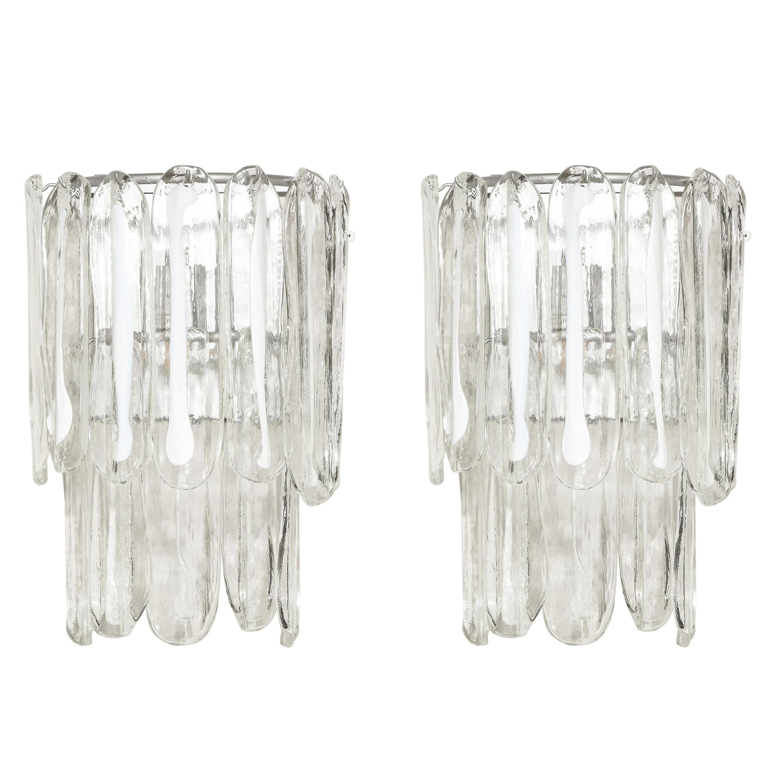 Pair of Mid-Century Modern Translucent & White Murano Glass Sconces by Mazzega