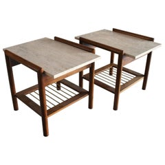 Pair of Mid-Century Modern Travertine, Walnut and Brass Side Tables