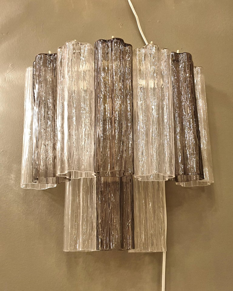 Italian Pair of Mid-Century Modern Tronchi Clear and Beige Murano Glass Sconces, 1970s For Sale