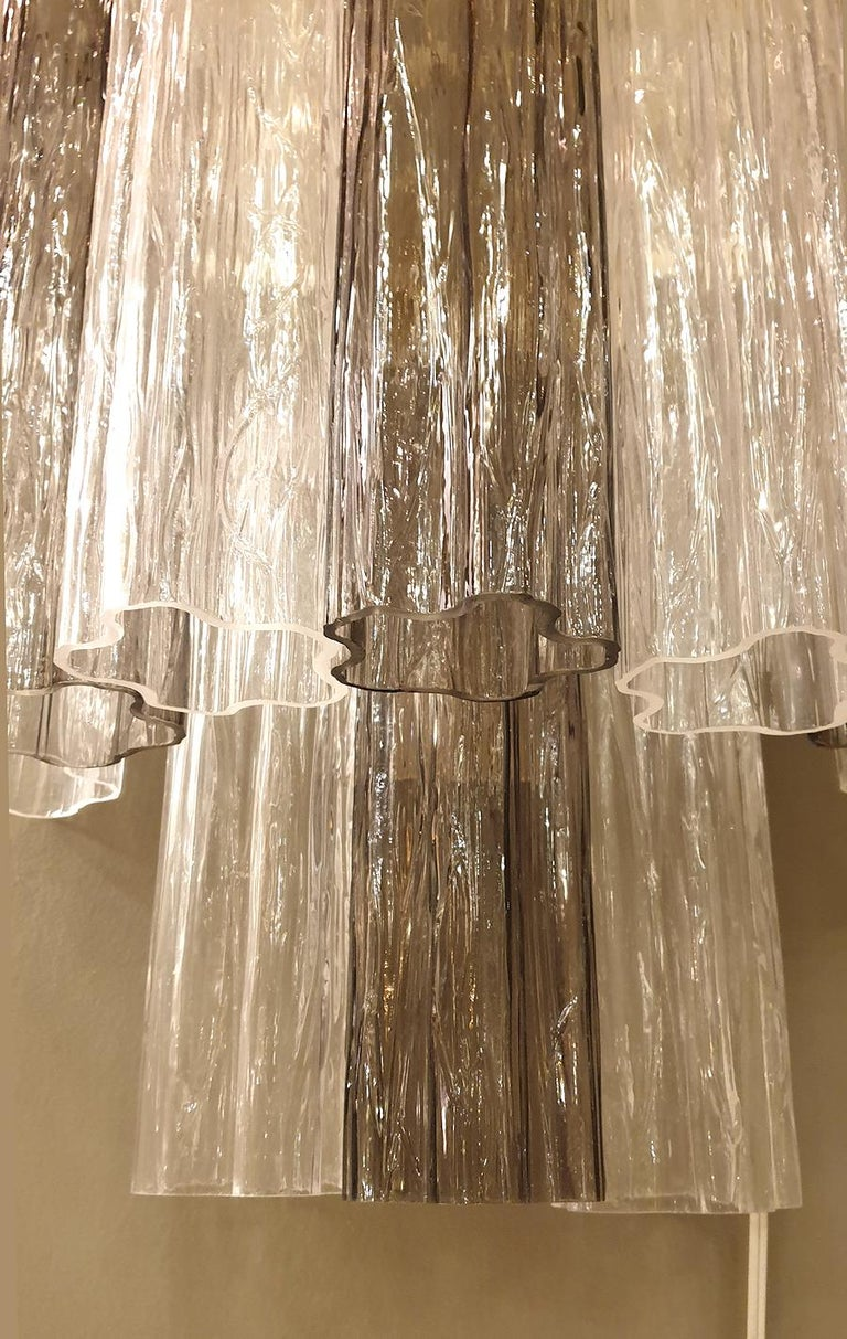 Pair of Mid-Century Modern Tronchi Clear and Beige Murano Glass Sconces, 1970s For Sale 1