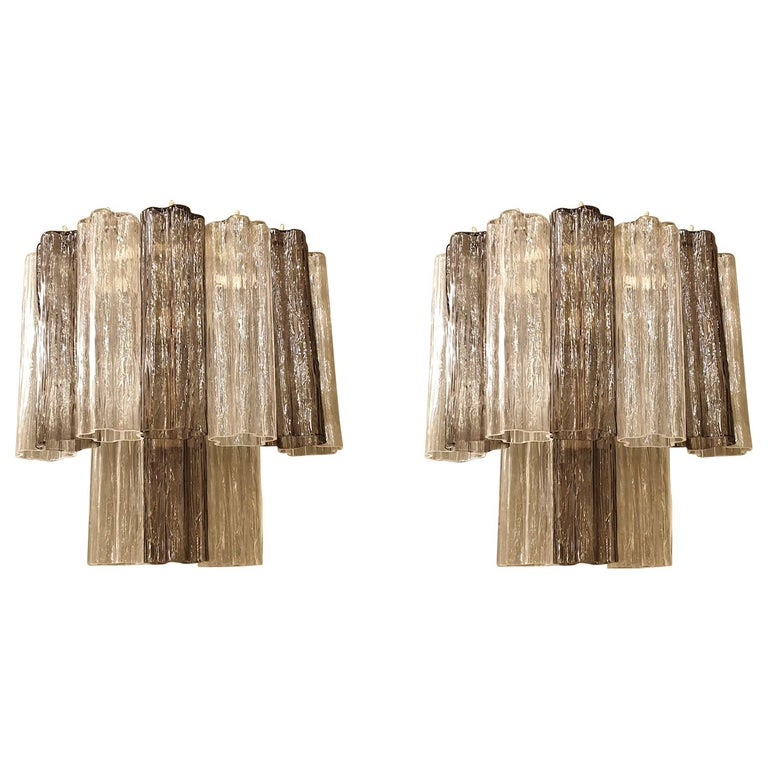 Pair of Mid-Century Modern Tronchi Clear and Beige Murano Glass Sconces, 1970s For Sale