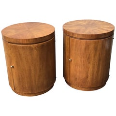 Pair of Mid-Century Modern Tubular Round Side Tables by Drexel