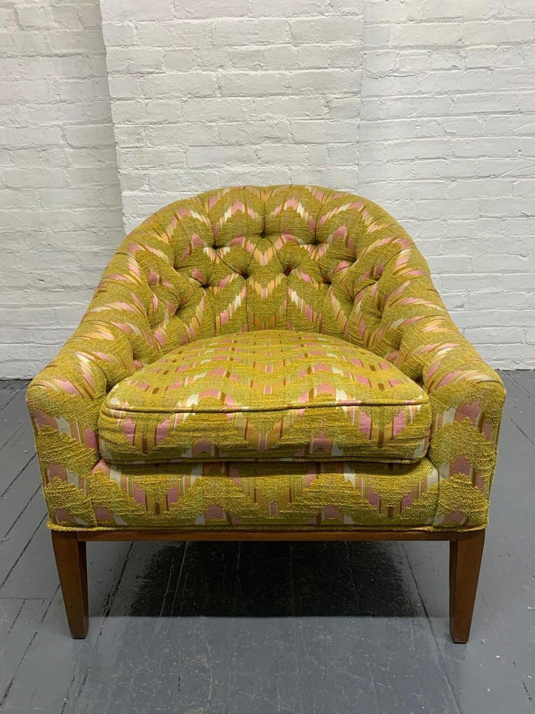 Upholstery Pair of Mid-Century Modern Tufted Lounge Chairs For Sale