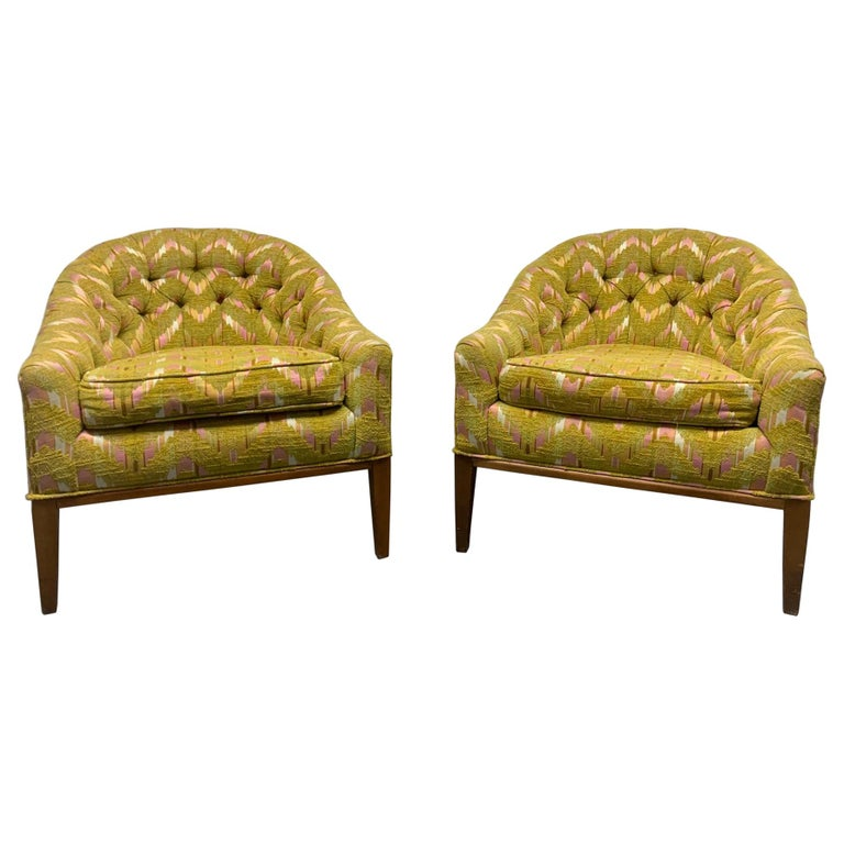 Pair of Mid-Century Modern Tufted Lounge Chairs For Sale