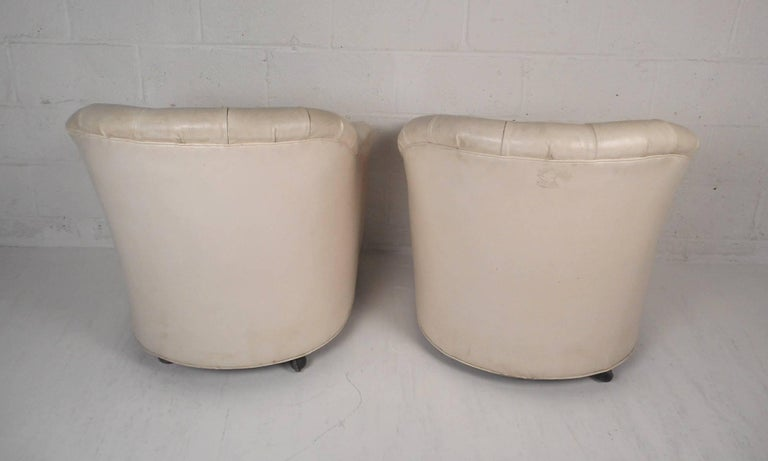 Faux Leather Pair of Mid-Century Modern Tufted Vinyl Lounge Chairs For Sale