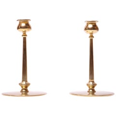 Pair of Mid-Century Modern Turned Brass Candlesticks after Jarvie