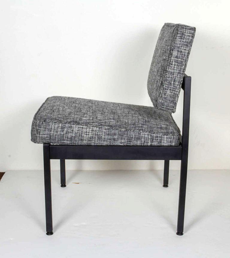 1970s Pair of Mid-Century Modern Tweed Industrial Chairs in the Style of Knoll For Sale