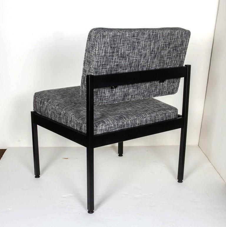 Steel Pair of Mid-Century Modern Tweed Industrial Chairs in the Style of Knoll For Sale