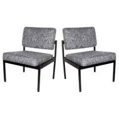 Pair of Mid-Century Modern Tweed Industrial Chairs in the Style of Knoll