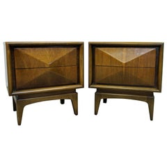 Pair of Mid-Century Modern United Diamond Front Walnut Nightstands