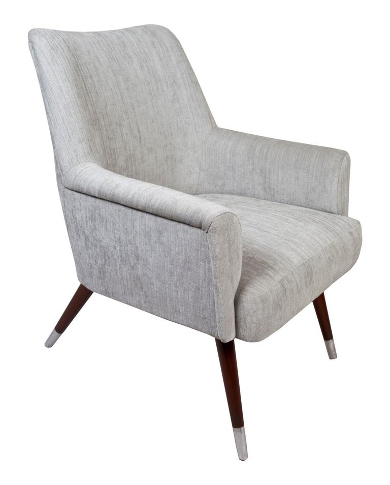 Pair of Mid-Century Modern Upholstered Armchairs with Chrome Feet In Good Condition For Sale In Nantucket, MA