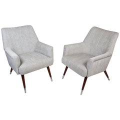 Pair of Mid-Century Modern Upholstered Armchairs with Chrome Feet