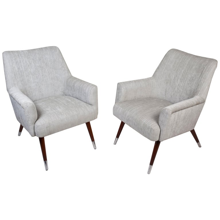 Pair of Mid-Century Modern Upholstered Armchairs with Chrome Feet For Sale